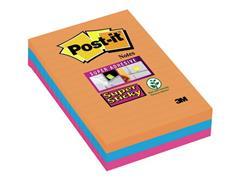 Post-it® Super Sticky Zelfklevend Notitieblok, Gelinieerd, 101 x 152 mm, Assorti (pak 3 stuks)