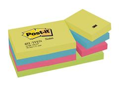 Post-it® Zelfklevend Notitieblok, 38 x 51 mm, Energetic Kleuren (pak 12 blokken)