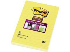 Post-it® Super Sticky Zelfklevend Notitieblok, Gelinieerd, 101 x 152 mm, Geel (pak 6 x 75 vel)