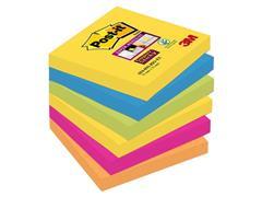 Post-it® Super Sticky Notes Rio kleuren, 76 x 76 mm (pak 6 blokken)