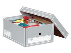 Pressel Archiefdoos met Deksel, Karton, A4, 350 x 255 x 155 mm, Grijs (pak 10 stuks)