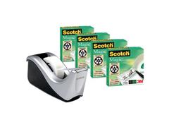 Scotch® C60 Golf Plakbandhouder, Zwart / Zilver met Magic™ tape transparant 19 mm x 33 m verpakking van 4 (set 5 stuks)