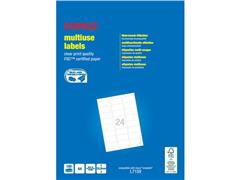 Staples Multifunctionele Etiketten Permanent, Afgerond, 63.5 x 33.9 mm, 24 Etiketten per vel, Wit (pak 2400 stuks)