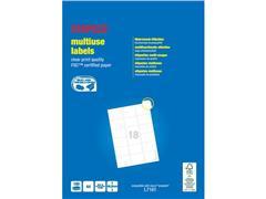 Staples Multifunctionele Etiketten, Permanent, Afgerond, 63.5 x 46.6 mm, 100 vel, 18 Etiketten per vel, Wit (pak 1800 stuks)