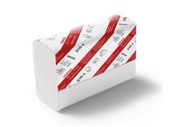 Staples Gevouwen papieren handdoeken, zigzag V vouw, 2 lagen 210 mm 210 vel, reliëf, wit (doos 15 x 210 stuks)