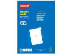 Staples Multifunctionele Etiketten Permanent, Rechthoekig, 210 x 148 mm, 2 Etiketten per vel, Wit (pak 200 stuks)