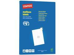 Staples Multifunctionele Etiketten Permanent, Rechthoekig, 52.5 x 29.7 mm, 40 Etiketten per vel, Wit (pak 4000 stuks)