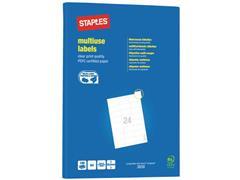 Staples Multifunctionele Etiketten Permanent, Rechthoekig, 64.6 x 33.8 mm, 100 vel, 24 Etiketten per vel, Wit (pak 2400 stuks)