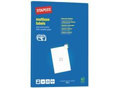 Staples Multifunctionele Etiketten Permanent, Rechthoekig, 70 x 26 mm, 33 Etiketten per vel, Wit (pak 3300 stuks)