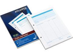 ATLANTA Orderblok, Zelfkopiërend, 50 pagina's, 70 g/m², Wit met Blauwe Tabellen (pak 5 blokken)