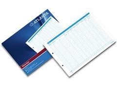 ATLANTA Rittenlijst Papier, Geperforeerd, 70 g/m², Wit met Blauwe Bedrukking (blok 50 vel)