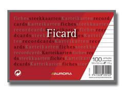 AURORA Systeemkaart 100 x 150 mm gelijnd 6 mm met rode koplijn 175 g/m² (pak 100 vel)