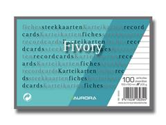 AURORA Systeemkaart 100 x 150 mm gelijnd 6 mm met rode koplijn 205 g/m² (pak 100 vel)