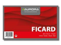 AURORA Systeemkaart 125 x 200 mm gelijnd 6 mm met rode koplijn 175 g/m² (doos 10 x 100 stuks)