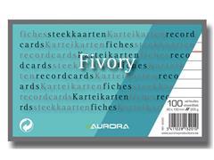 AURORA Systeemkaart 80 x 130 mm gelijnd 6 mm met rode koplijn 205 g/m² (pak 100 vel)