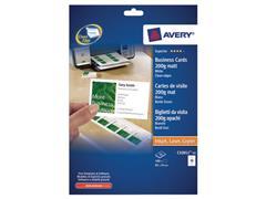 Avery Quick & Clean™ visitekaartje 85 x 54 mm, mat, 200 g/m², C32011, Inkjet/ Laser (pak 100 stuks)