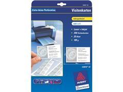 Avery Quick & Clean™ visitekaartje 85 x 54 mm, 185 g/m², perforatierand, C32010, Inkjet (pak 250 stuks)