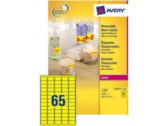 Avery ZWECKFORM neon gekleurde etiketten 38,1 x 21,2 mm, neon geel, L7651Y (pak 6500 stuks)