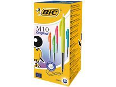 BiC M10 Clic Balpen, Medium Punt, 1 mm, Assorti (pak 50 stuks)