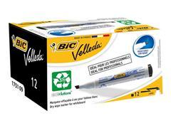 BIC® Velleda Eco 1751 Whiteboardmarker, Beitelvormige Punt, 3 - 5,5 mm, Zwart (doos 12 stuks)
