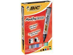 BiC Marking 2000 Permanente Marker, Ronde Punt, 1,7 mm, Zwart, Blauw, Rood, Groen (pak 4 stuks)