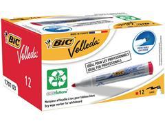 BiC Velleda 1701 Whiteboardmarker, Ronde Punt, 1,5 mm, Rood (pak 12 stuks)