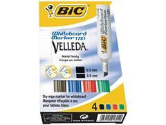 BIC® Velleda 1781 Whiteboardmarker, Beitelvormige Punt, 3 - 6 mm, Assorti (pak 4 stuks)