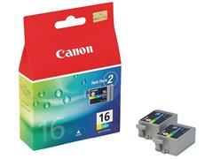 Canon BCI-16 / 9818A002 Inktcartridge, 2 Pack, Kleur (pak 2 stuks)