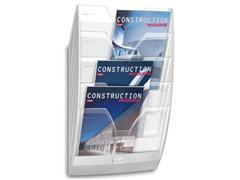 Cep Wand folderrek mailroom Transparant, A4 staand, 5 vakken, L350 x B120 x H580 mm