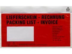 Debatin DIN Lang Transport Envelop met Venster, Zelfklevend, 240 x 140 mm, Rood (pak 250 stuks)