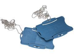 Detectamet Pashouder, Detecteerbaar, Veiligheidsketting (76,2 cm), 1 pas, 53 × 85 mm, Blauw (pak 10 stuks)