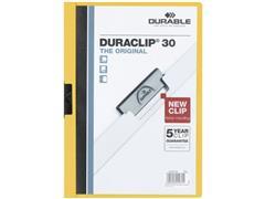 Durable Duraclip® Klemmap, A4, 30 Vellen, 210 × 300 mm, Geel (pak 25 stuks)