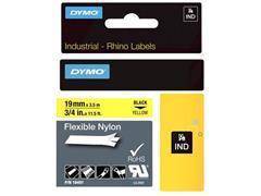 Dymo Rhino Flexibele Nylon Etiketten, 19 mm x 3,5 m, Zwart op Geel