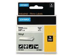 Dymo Rhino Vinyl Etikettencassette, 9 mm x 5,5 m, Zwart op Wit