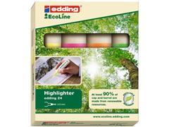 edding EcoLine 24 Markeerstift, Beitelvormige Punt, 2 - 5 mm, Assorti (pak 4 stuks)