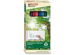 edding EcoLine 29 Whiteboardmarker, Beitelvormige Punt, 1 - 5 mm, Assorti (set 4 stuks)