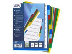 Elba Tabbladen gekleurd kunststof 11 rings, A4 maxi, 10 onbedrukte tabs (set 10 vel)