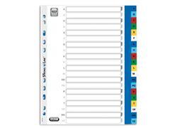 Elba Tabbladen gekleurd kunststof 11 rings, A4 maxi, bedrukte tabs, A-Z