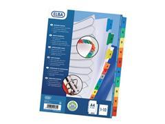 Elba Tabbladen wit karton, met gekleurde tabs 11 rings, A4 maxi, bedrukte tabs, 1-10 (set 10 vel)