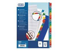 Elba Tabbladen wit karton, met gekleurde tabs 11 rings, A4 maxi, bedrukte tabs, A-Z
