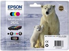 Epson 26XL Toner, multipack: zwart, magenta, geel, cyaan (pak 4 stuks)