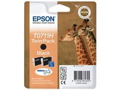 Epson T0711 Inktcartridge, Dual Pack, Zwart (pak 2 stuks)