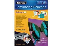 Fellowes Lamineerhoes A4, Zelfklevend, 216 x 303 mm, 2 x 80 micron, Glanzend (pak 100 stuks)