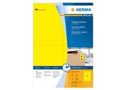 Herma Permanent gekleurd papieretiket, 105 x 148 mm, 100 vellen, 4 etiketten per A4-vel, geel (pak 400 stuks)