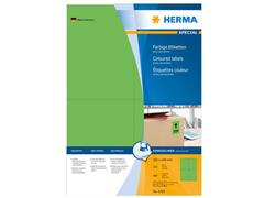 Herma Permanent gekleurd papieretiket, 105 x 148 mm, 100 vellen, 4 etiketten per A4-vel, groen (pak 400 stuks)
