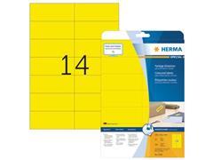 Herma Verwijderbaar gekleurd papieretiket, 105 x 42,3 mm, 20 vellen, 14 etiketten per A4-vel, geel (pak 280 stuks)