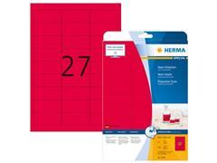 Herma Permanent papieretiket, fluorescerend, 63,5 x 29,6 mm, 20 vellen, 27 etiketten per A4-vel, neonrood (pak 540 stuks)