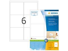Herma Premium permanent papieretiket, 99,1 x 93,1 mm, 100 vellen, 6 etiketten per A4-vel, wit (pak 600 stuks)