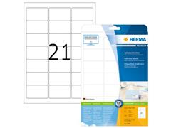Herma Premium Permanent Papieretiket, 63,5 × 38,1 mm, Ronde Hoek, Wit (pak 525 stuks)