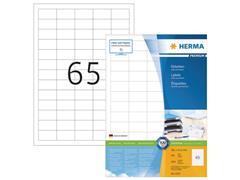 Herma Premium permanent papieretiket, 38,1 x 21,2 mm, 100 vellen, 65 etiketten per A4-vel, wit (pak 6500 stuks)